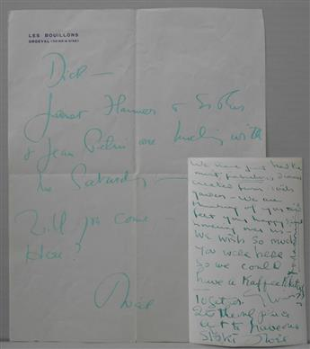 COWARD, NOËL. Two Autograph Notes Signed, Noël, each to Richard Pindle Hammond, in green ink.