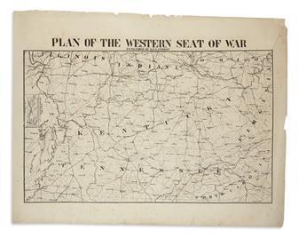 (CIVIL WAR--MAP.) Manouvrier, Jules; lithographer. Plan of the Western Seat of War.