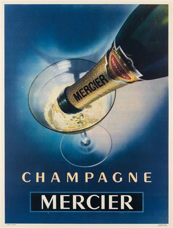 DESIGNER UNKNOWN. CHAMPAGNE MERCIER. 1948. 31x23 inches, 79x59 cm. Draeger, [Paris.]
