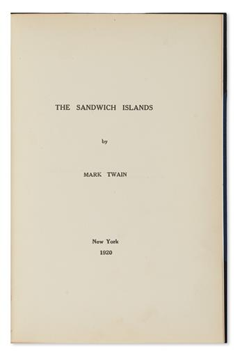 TWAIN, MARK. The Sandwich Islands.