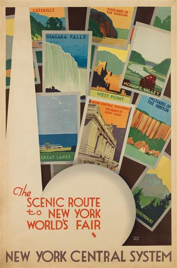 LESLIE RAGAN (1897-1972). THE SCENIC ROUTE TO NEW YORK WORLDS FAIR / NEW YORK CENTRAL SYSTEM. 1939. 41x27 inches, 104x68 cm. Forbes, B