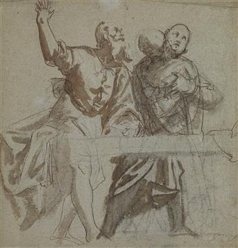 PAOLO VERONESE (CIRCLE OF) (Verona 1528-1588 Venice) A Study of Two Apostles Seated at a Table.