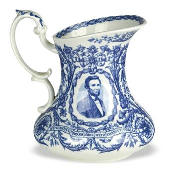 (REALIA.) Staffordshire pitcher depicting Lincoln.
