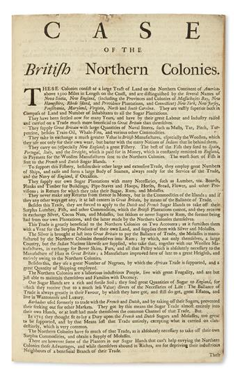 (COMMERCE.) Case of the British Northern Colonies.