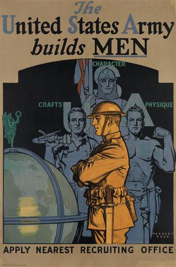 HERBERT ANDREW PAUS (1880-1946). THE UNITED STATES ARMY BUILDS MEN. Circa 1919. 29x19 inches, 75x49 cm. Niagara Litho Co, Buffalo.