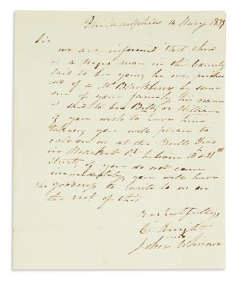 (SLAVERY AND ABOLITION.) Slave documents from the Hooe family, including letters on runaways.