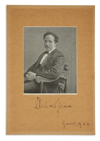STRAUSS, RICHARD. Photograph Signed and dated,