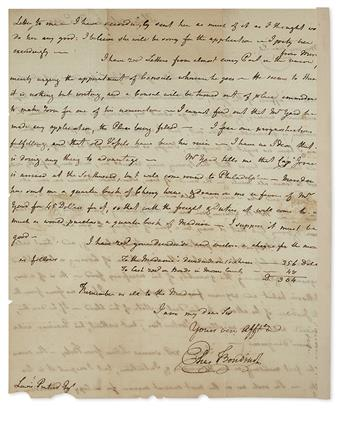 BOUDINOT, ELIAS. Autograph Letter Signed, as Representative, to brother-in-law Lewis Pintard (My very dear Sir),