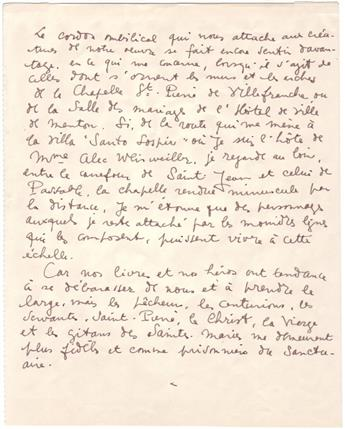 COCTEAU, JEAN. Autograph Manuscript, unsigned, in French, fair copy of a passage from his book of poetry criticism, Le cordon ombilical