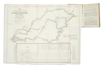 (RAILROADS.) Humphreys, Andrew A., et al. Map of the Routes Examined and Surveyed for the Winchester and Potomac Rail Road,