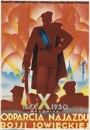 TADEUSZ GRONOWKSI (1894-1990). ODPARCIA NAJAZDU. 1930. 39x27 inches, 99x70 cm. K. Kozianskich, Warsaw.
