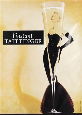 DESIGNER UNKNOWN. L'INSTANT TAITTINGER. Circa 1980s. 66x46 inches, 167x118 cm. Publicis, Reims.