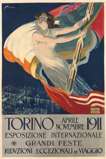 ALDO MAZZA (1880-1964). TORINO / ESPOSIZIONE INTERNAZIONALE. 1911. 35x23 inches, 89x58 cm.