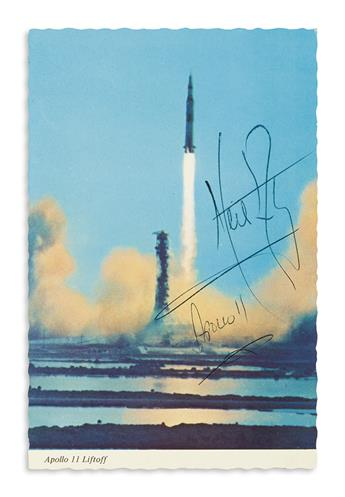 (ASTRONAUTS.) ARMSTRONG, NEIL. Photograph Signed and Inscribed, Apollo 11, postcard showing the Saturn V rocket during Apollo 11 lift
