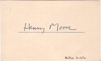 MOORE, HENRY. Signature, on a card.