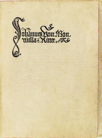 INCUNABULA  MANDEVILLE, JEAN DE, attributed to.  Reysen und Wanderschafften durch das Gelobte Land.  1488. Title in facsimile.