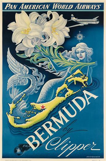 BORIS ARTZYBASHEFF (1899-1965). BERMUDA BY CLIPPER / PAN AMERICAN WORLD AIRWAYS. 1947. 42x27 inches, 106x70 cm.