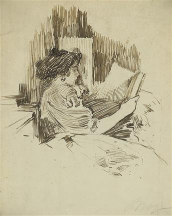 IRVING RAMSEY WILES Gladys, The Artists Daughter, Reading