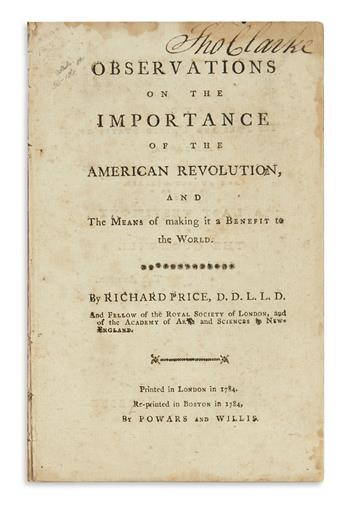 (AMERICAN REVOLUTION--HISTORY.) Price, Richard. Observations on the Importance of the American Revolution.