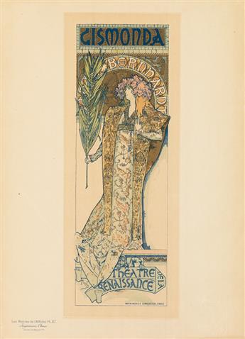 ALPHONSE MUCHA (1860-1939). GISMONDA. Maîtres de lAffiche pl. 27. 1896. 15x11 inches, 40x28 cm. Chaix, Paris.