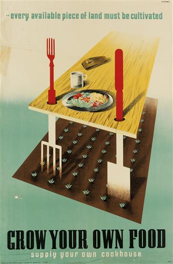 ABRAM GAMES (1914-1996). GROW YOUR OWN FOOD. 1942. 29x19 inches, 75x49 cm. J. Weiner Ltd., London.