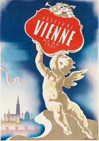 VICTOR THEODOR SLAMA (1890-1973). FESTIVAL VIENNE. 1951. 32x23 inches, 83x58 cm. Vorwarts, Vienna.