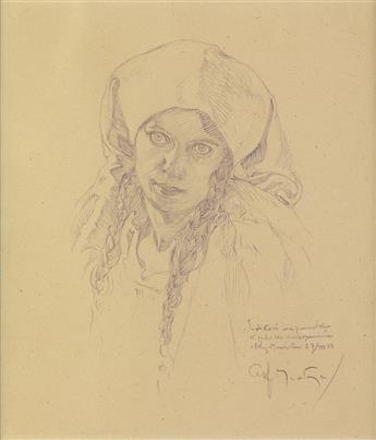 ALPHONSE MUCHA (1860-1939). [HEAD OF GIRL WITH BRAIDS.] Pencil drawing. 1933. 9x7 inches, 23x19 cm.