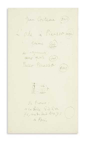 COCTEAU, JEAN. Autograph Manuscript Signed, within the text, draft of a title-page for his poem, LOde à Picasso [Paris, 1919],