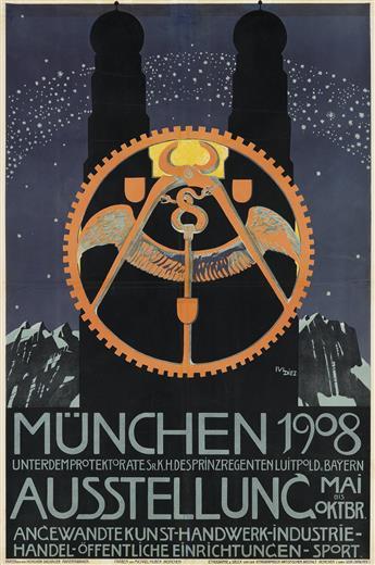 JULIUS DIEZ (1870-1957). MÜNCHEN AUSSTELLUNG. 1908. 43x28 inches, 110x73 cm. Gebr. Obpacher, Munich.