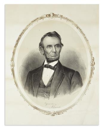 (LINCOLN, ABRAHAM.) Middleton, Elijah C.; lithographer. Untitled portrait which the President famously critiqued at length.