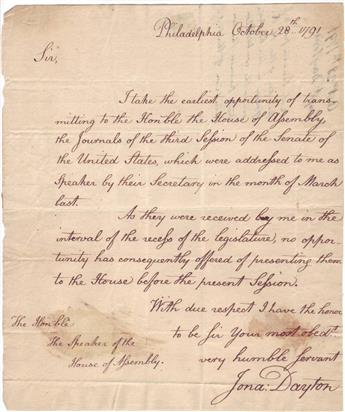 DAYTON, JONATHAN. Autograph Letter Signed, Jona: Dayton, as U.S. Representative from NJ, to Speaker of the NJ House of Assembly Ebene