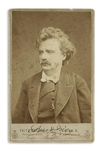 GRIEG, EDVARD. Photograph Inscribed and Signed, twice,