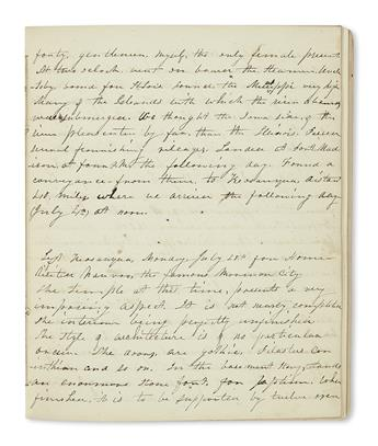 (TRAVEL.) [Chase, Mary Gould?] Diary of a trip to the Iowa frontier and back.