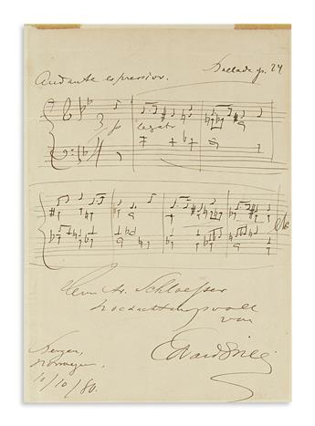 GRIEG, EDVARD. Autograph Musical Quotation Signed and Inscribed, to Mr. Schloesser, in German, 7 bars from his Ballade in the Form of V