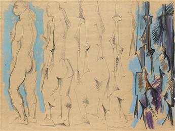 HANS BURKHARDT Abstract Figural Scene.