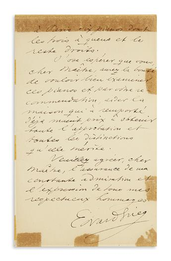 GRIEG, EDVARD. Autograph Letter Signed, EdvardGrieg, to French pianist Louis Diémer (Dear Master), in French,