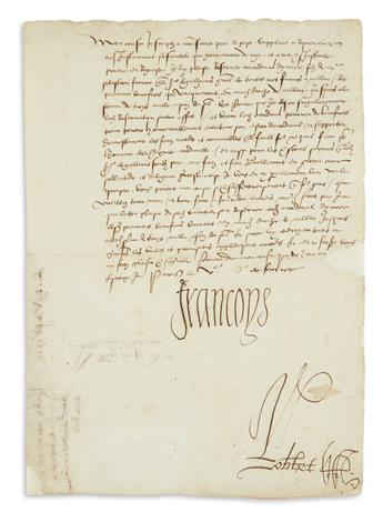 FRANCIS I; KING OF FRANCE. Letter Signed, Francoys, to the Duke of Urbino, in French,