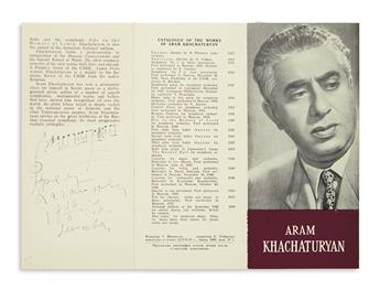 KHACHATURIAN, ARAM. Autograph Musical Quotation dated and Signed, in Russian, two bars from an unnamed work,