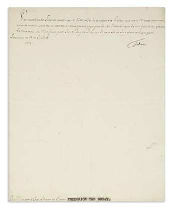 FRIEDRICH II; KING OF PRUSSIA. Letter Signed, Frederic, to the Minister of State Baron Von der Horst, in French,