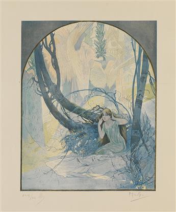 ALPHONSE MUCHA (1860-1939). LA CARILLON DE PÂQUES RÉVEILLE LA NATURE. 1896. 21x16 inches, 55x42 cm.