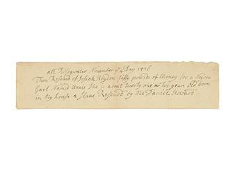 (SLAVERY AND ABOLITION.) CONNECTICUT. At Bridgewater, November 4th day, 1776. Then Received of Josiah Hayden fifty pounds of money for