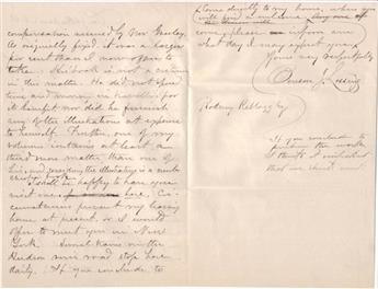 LOSSING, BENSON J. Two items: Autograph Manuscript, unsigned * Autograph Letter Signed.