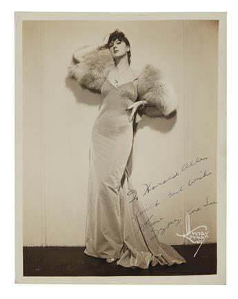 LEE, GYPSY ROSE. Photograph Signed and Inscribed, To Harold Allen / With Best Wishes, full-length portrait by Korman,