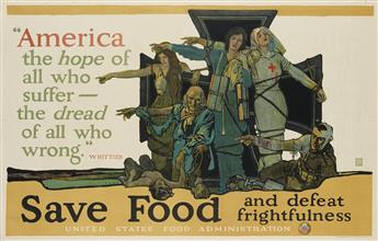 HERBERT ANDREW PAUS (1880-1946). SAVE FOOD AND DEFEAT FRIGHTFULNESS. 1917. 36x56 inches, 91x143 cm. The Strobridge Litho. Co., Cincinna