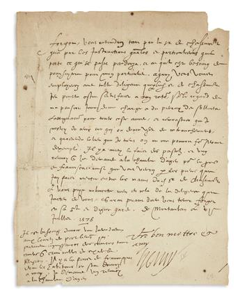 HENRI IV; KING OF FRANCE. Letter Signed, Henry, to Focyer[?], concerning passports, in French.