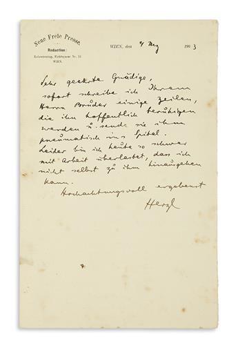 (ISRAEL.) HERZL, THEODOR. Autograph Letter Signed, Herzl, to an unnamed recipient (Dear esteemed Madam), in German,