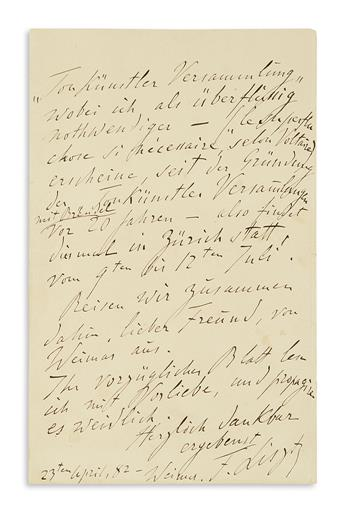 LISZT, FRANZ. Autograph Letter Signed, F. Liszt, to publisher of the Allgemeinen deutschen Musikzeitung Otto Lessmann, in German and