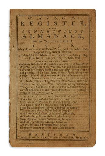 (AMERICAN REVOLUTION--1775.) [Strong, Nehemiah.] Watsons Register and Connecticut Almanack, for . . . 1776.
