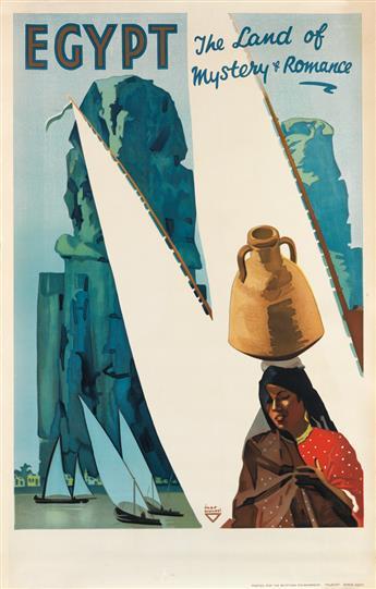 IHAP HULUSI GÖREY (1898-1986). EGYPT / THE LAND OF MYSTERY & ROMANCE. 1937. 39x25 inches, 99x63 cm. [S.C. Allen & Co., Ltd., London.]