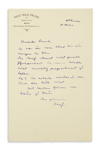 (ISRAEL.) HERZL, THEODOR. Autograph Letter Signed, Herzl, to an unnamed recipient (Esteemed Friend), in German, in purple ink,